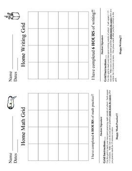 Math & Writing Grid - Homework Tracking