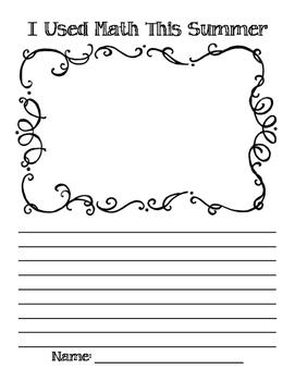 Math Writing/Journal Template