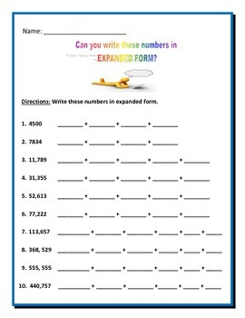 Math: Writing Numbers in EXPANDED FORM - 4 pages of 10 questions each.