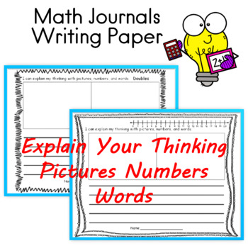 Math Journals Math Writing Paper Pictures Numbers Words