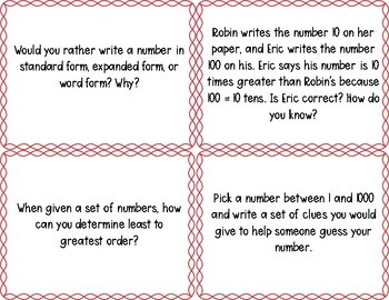 Math Writing Prompts: Unit 1 - Place Value