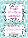 Math Writing Sample for ELA Portfolios or Permanent Records