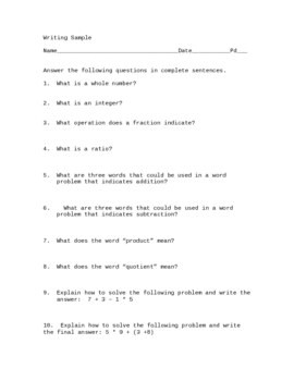 Math Writing Sample of 10 Questions