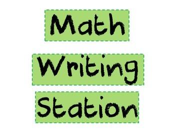 Math Writing Station Poster FREEBIE