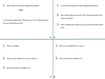 Math Writing Task Cards Set 1