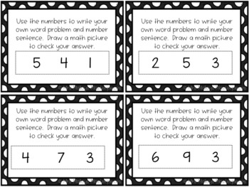 Daily 3 Math Writing Task Cards: Word Problems with Three Numbers