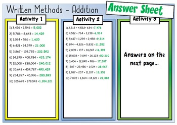 Math Calculations... Written Addition Method Practice + Missing Number Activity