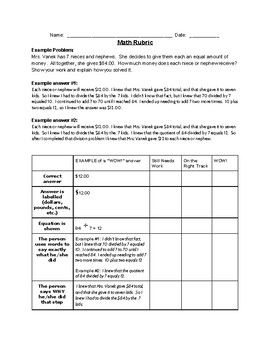 Math Written Responses - Sample answers and rubric