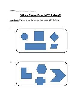 Math- X the shape that does not belong