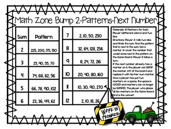Math Zone Bump-Two Games for Identifying the Next Number in a Pattern