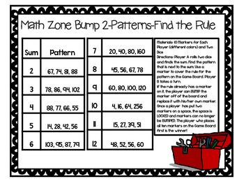 Math Zone Bump-Two Games for Identifying Rules of Patterns