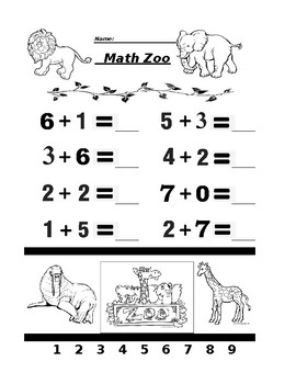 Math Zoo Adding Single Digits 2