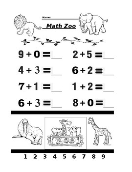 Math Zoo Addition Double Lesson
