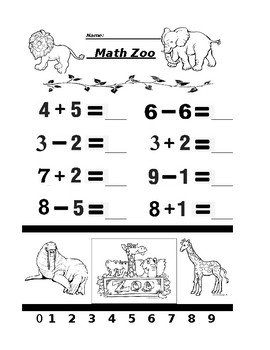 Math Zoo Addition and Subtraction 3