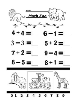 Math Zoo Addition and Subtraction 5