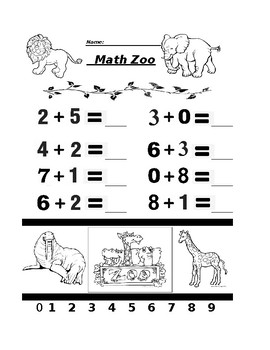 Math Zoo Addition and Subtraction Worksheet