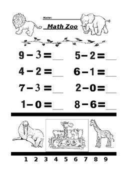 Math Zoo Subtraction 2