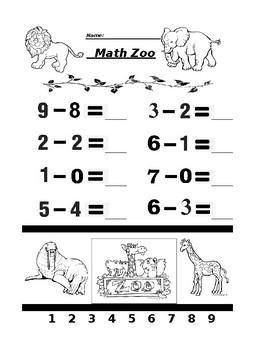 Math Zoo Subtraction 3