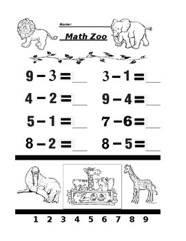Math Zoo Subtraction 5