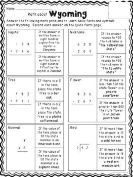 Math about Wyoming State Symbols