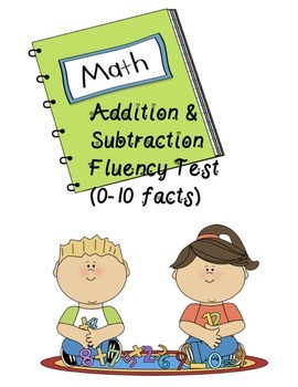 Math addition and subtraction fluency test FREEBIE