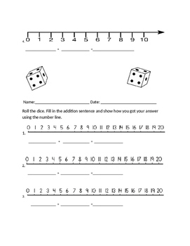 Math addition practice with number lines