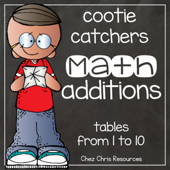 Math additions cootie catchers: tables from 1 to 10