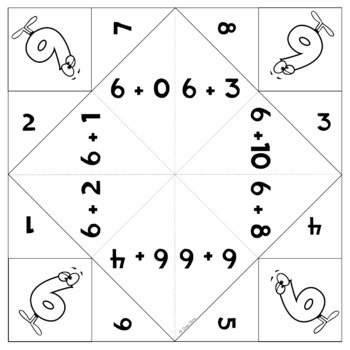 Cootie Catchers / Fortune Tellers - Math Additions Tables from 1 to 10
