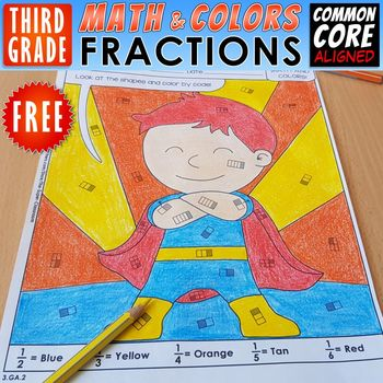Math and Colors – Fractions - FREE VERSION - NO2 - Common Core Aligned