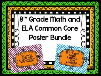 Math and ELA Common Core Poster Bundle for 8th Grade
