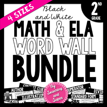 Math and ELA Word Wall BUNDLE *BLACK AND WHITE* (2nd Grade)