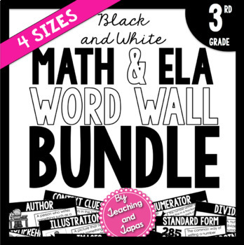 Math and ELA Word Wall BUNDLE *BLACK AND WHITE* (3rd Grade)