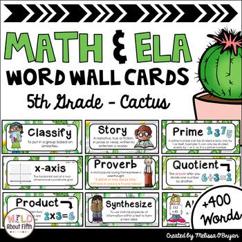 Math and ELA Word Wall Editable 5th Grade Bundle - Cactus