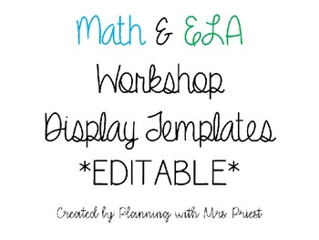 Math and ELA Workshop Display Templates