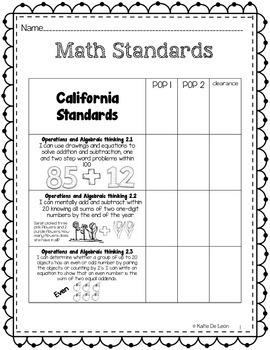 Math and ELA goal folder