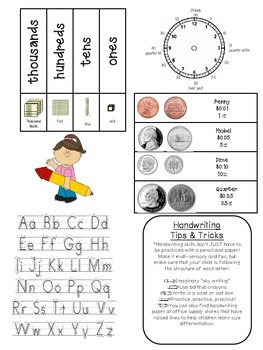 Math and Handwriting Homework Helper for 1st and 2nd Grade