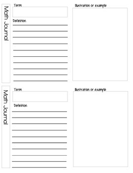 Math and Language Arts Journal Pages with Reference Pages