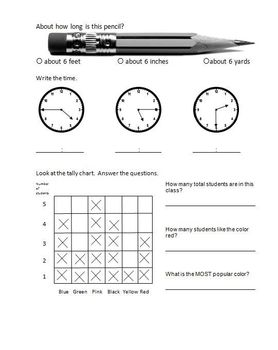 Math and Language Arts Work 16 page Packet -  Elementary