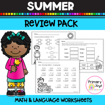 Math and Language Worksheets (summer edition) - First Grade