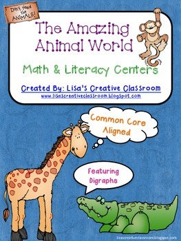 Math and Literacy Activities featuring Animals and Digraphs