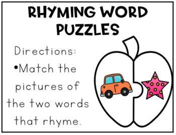Apples Puzzles - Place Value, Number Sense, Rhyming, Digraphs