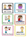 Daily 5 Literacy Center Labels Kid Themed:  Editable