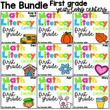 Math and Literacy Center Activities 1st Grade Growing BUNDLE