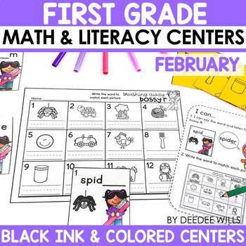 Math and Literacy Center Activities-First Grade February