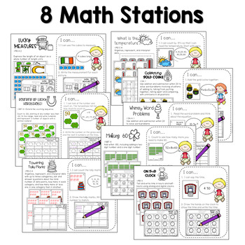 Math and Literacy Center Activities-First Grade March