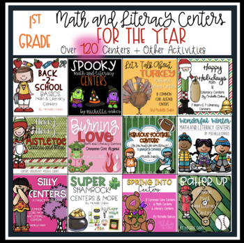 Centers for the Year: Math and Literacy Center Bundle
