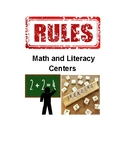 Math and Literacy Center Rules