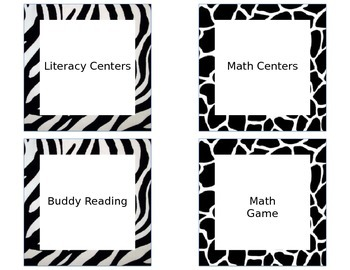 Math and Literacy Center Signs