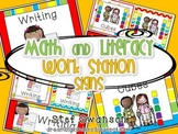 Math and Literacy Center Signs {Work Station Signs} Circus Colors