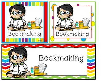 Math and Literacy Center Signs {Work Station Signs} Rainbow Colors